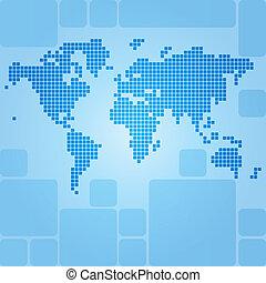 mapa, rectángulos, redondeado, punteado, mundo