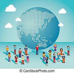 mapa, rede, mídia, global, ásia, social