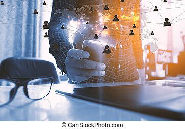 mapa, rede,  networking, tela, Mídia, mão, conectado, globalização, telefone,  social, toque, mundo, negócio, conceito, esperto