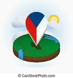 mapa, redondo, republic., nuvem, ponto, república tcheca, experiência., bandeira, marcador, isometric, sol