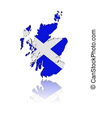 mapa, reflexión, render, escocia, ilustración, bandera, 3d