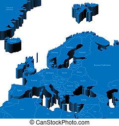 mapa, região, 3d, europeu