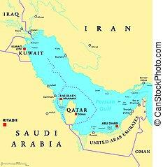 mapa, región, persa, político, golfo