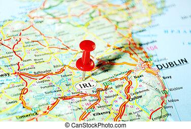 mapa, reino, irlanda