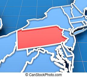 mapa, render, estados unidos de américa, pensilvania,...