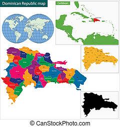 mapa, republika, dominikański
