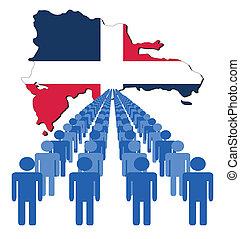 mapa, republika, dominikański, ludzie
