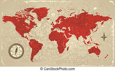 mapa, retro, mundo