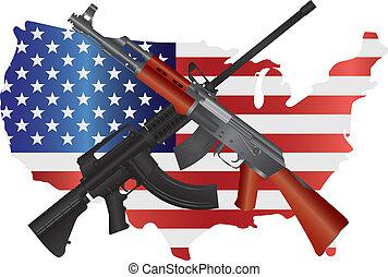 mapa, rifles, bandera de los e.e.u.u, ilustración, asalto