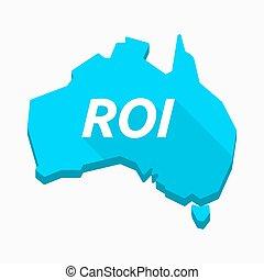 mapa, roi, austrália, acrônimo, isolado, retorno, investimento