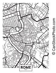 mapa, roma, coloreado, vector