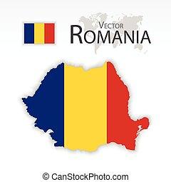 mapa, romania, conceito, transporte, ), (, (republic, romania), bandeira, turismo