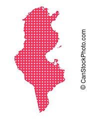 mapa, rombo, punto, tunecino, fondo.