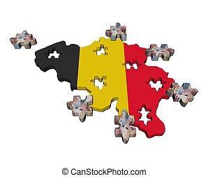 mapa, rompecabezas, ilustración, pedazos, bandera, bélgica, euro