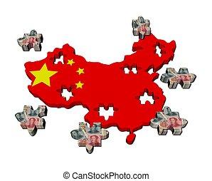 mapa, rompecabezas, ilustración, pedazos, bandera, china, yuan