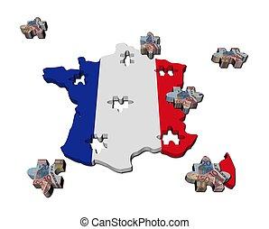 mapa, rompecabezas, ilustración, pedazos, bandera, francia, euro