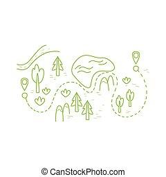 mapa, rota, hiking