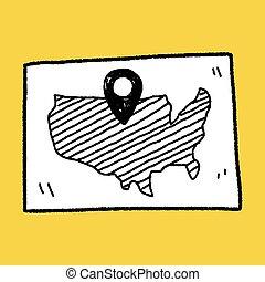 mapa, rozmieszczenie, doodle