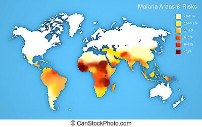 mapa, rozpostarty, choroba, malaria