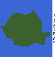 mapa, rumania, contorno