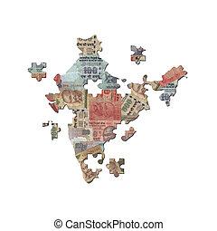 mapa, rupia, indio, rompecabezas