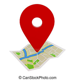 mapa, ruta, aislado, blanco, indicador, gps