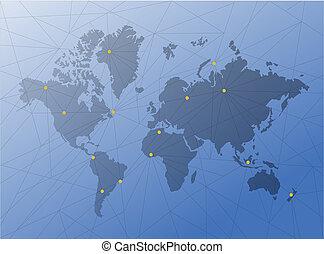 mapa, síť, diagram, společnost, link., technika