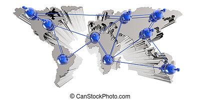 mapa, síť, lidský, společenský, společnost, 3