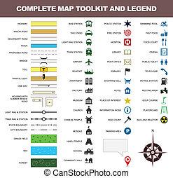 mapa, símbolo, juego herramientas, señal, leyenda, icono