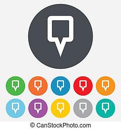 mapa, símbolo., señal, marcador, icon., indicador