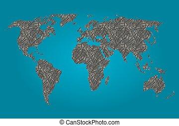 mapa, słoń, wypełniony, świat, próbka