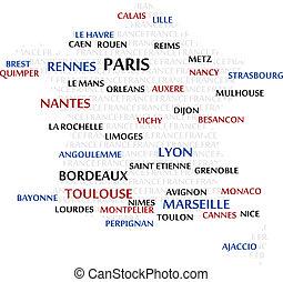 mapa, Słowo, chmura, francja