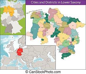 mapa, sajonia, más bajo