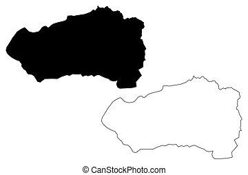 mapa, salvador), garabato, el salvador, (republic, cabanas, ...