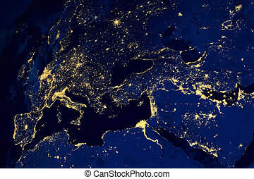 mapa, satelita, miasta, europejczyk, noc