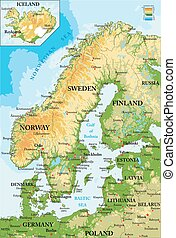 mapa, scandinavia-physical