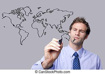mapa, screen., vidro, mundo, homem negócios, desenho