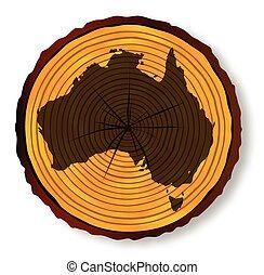 mapa, seção, austrália, madeira