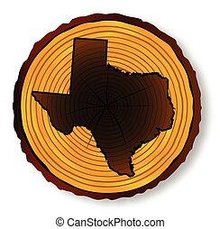 mapa, seção, fim, texas, madeira