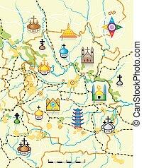 mapa, señales, vector, religioso, país