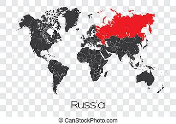 mapa, selecionado, rússia, mundo, país