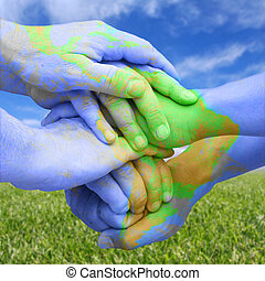 mapa, semelhante, pintado, global, responsabilidade, mãos,...