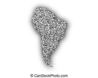 mapa, sementes, américa sul, papoula