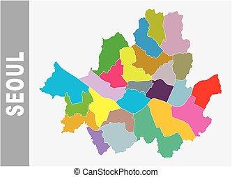 mapa, seul, coloridos, político, vetorial, administrativo