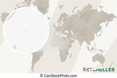 mapa, seychelles, flag., map., svíčka, společnost
