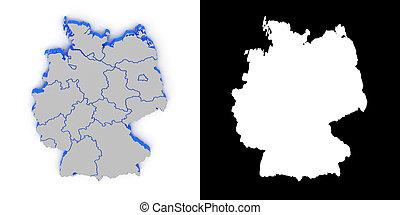 mapa, shadow.., alemania, canal de la alfa, 3d