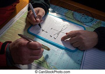 mapa, ship's, capitão, rota, planos