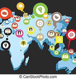 mapa, sieć, perspektywa, towarzyski, ziemia, układ