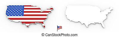 mapa, silueta, bandeira eua, branca, 3d