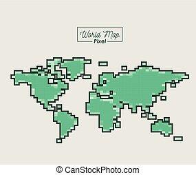 mapa, silueta, cor, verde, mundo, pixel